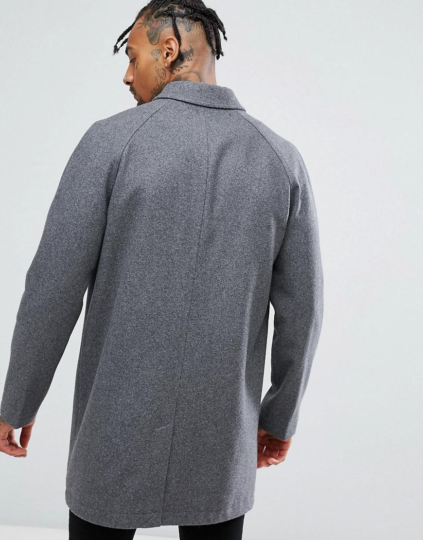02049e8d0451 Lyst - ASOS Wool Mix Trench Coat In Light Gray in Gray for Men