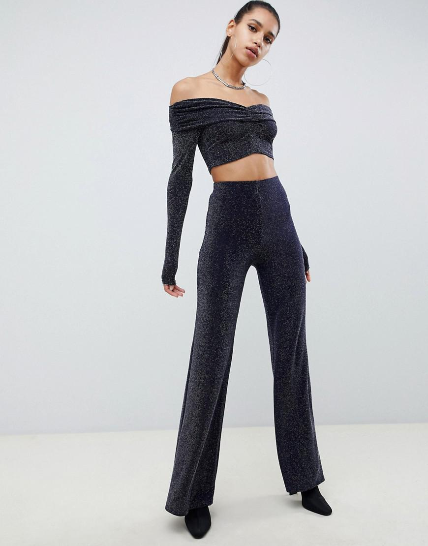 bbd926227f87d Missguided Bardot Glitter Co Ord Crop Top In Navy in Blue - Lyst