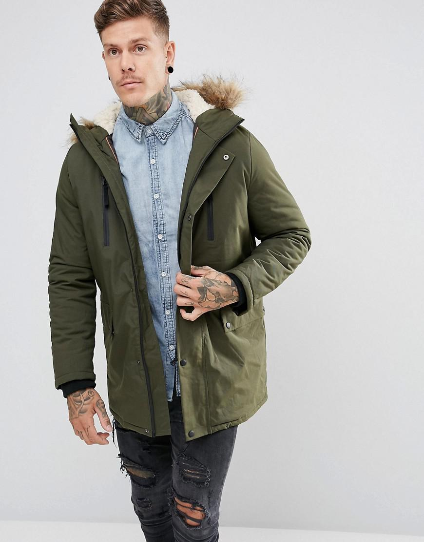 101f4f3d3cf New Look Parka With Fur Lined Hood In Khaki in Green for Men - Lyst