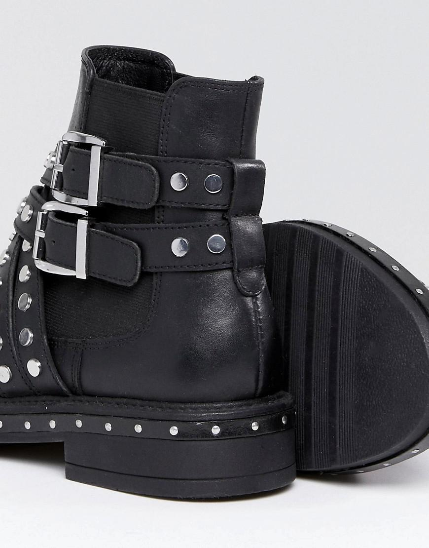 ASOS ADVENT Premium Leather Studded Biker Boots
