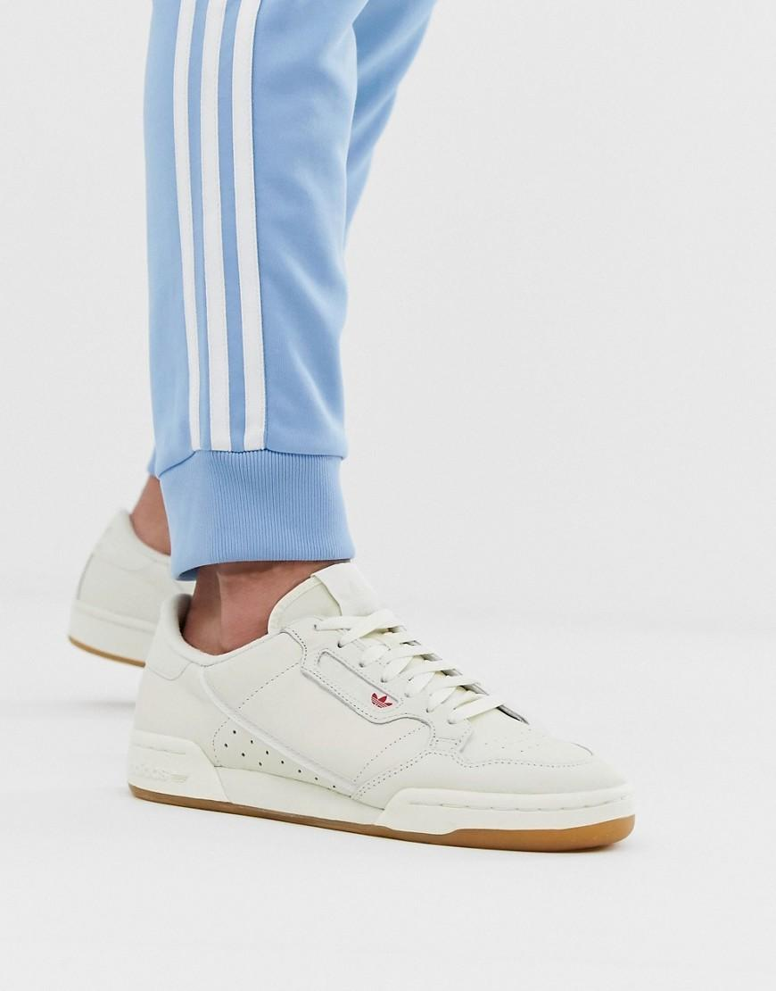 7bae8858 adidas Originals. Men's Continental 80s Trainers In White With Gum Sole