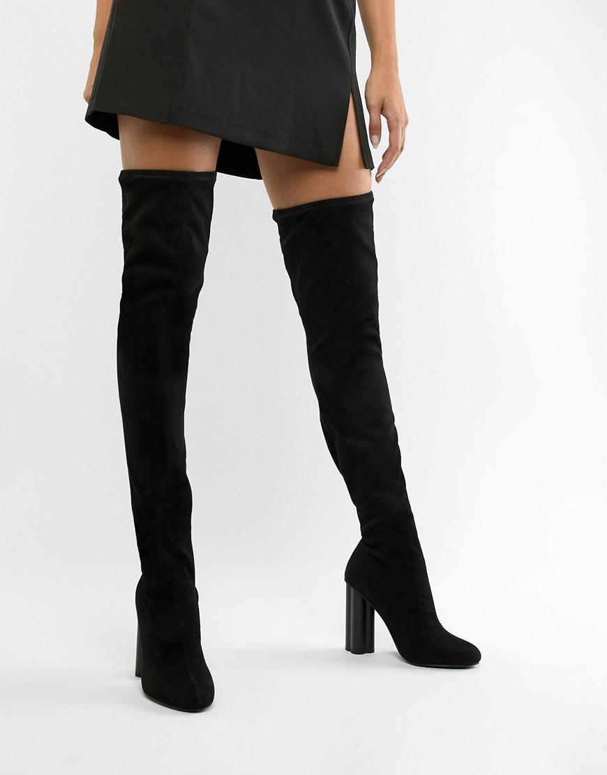 668d4860e26 Lyst - ASOS Kalika Thigh High Boots in Black
