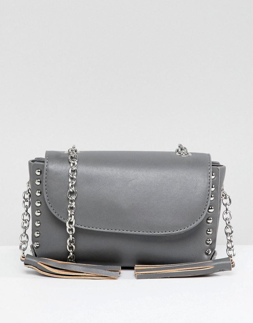 5a7f6503df Yoki Fashion Small Cross Body Bag With Studs And Tassels in Gray - Lyst