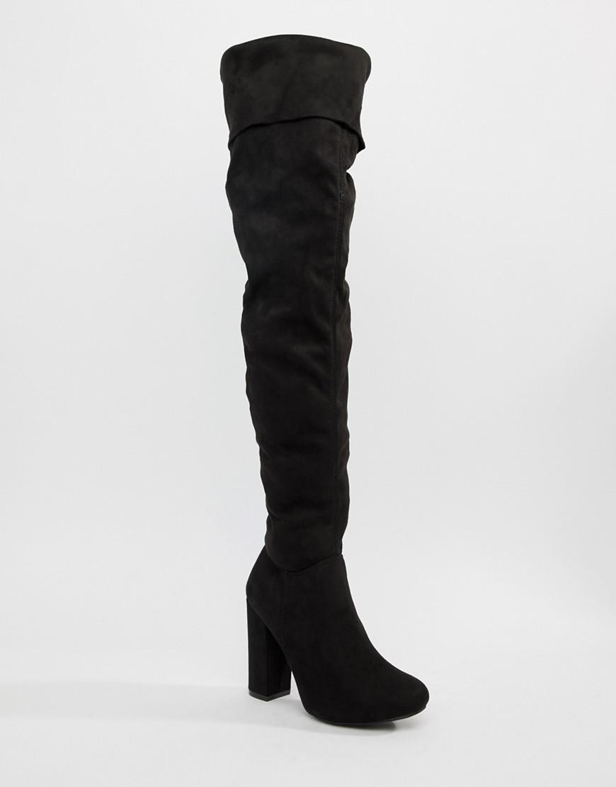 669b1656f77 Truffle Collection Block Heel Over Knee Boots in Black - Lyst