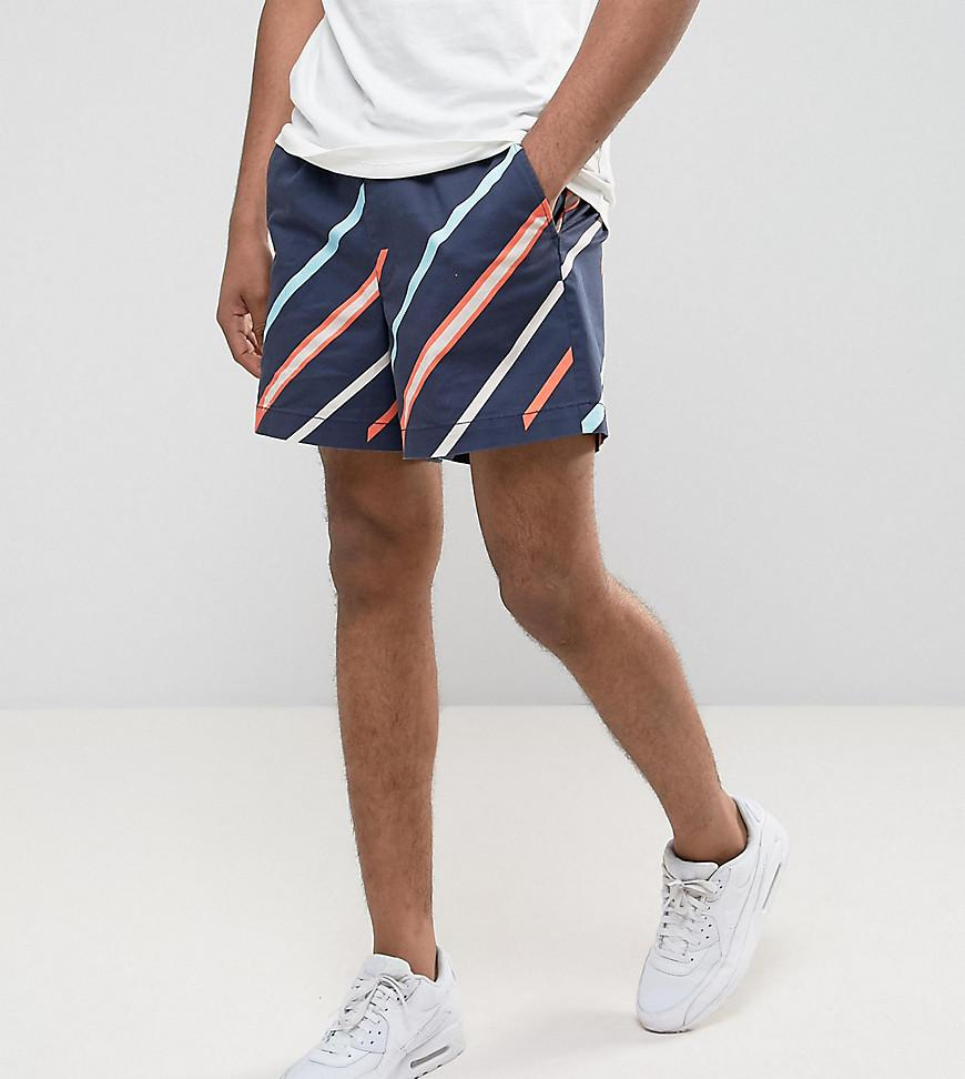 PLUS Slim Shorter Shorts with Elasticated Waist and Line Print - Navy Asos xL9RpMpEFb
