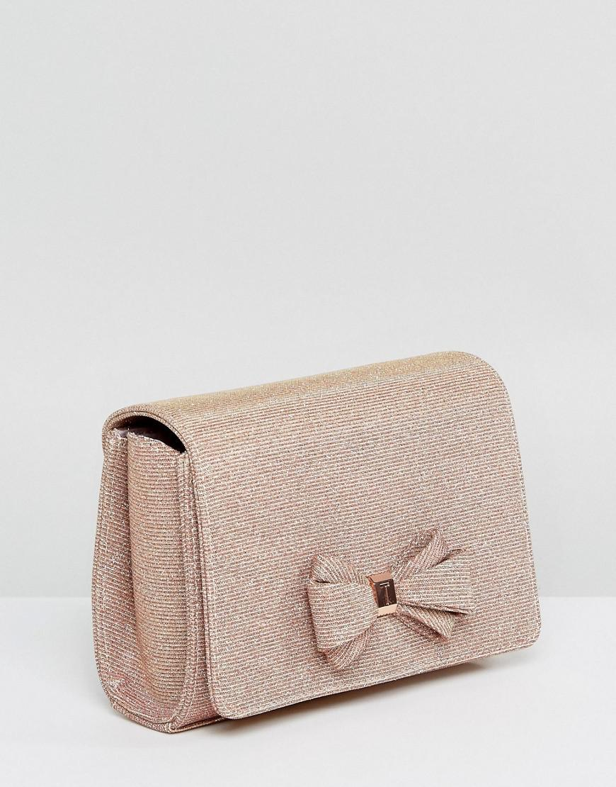 cf68e33fcdde Lyst - Ted Baker Kimmeyy Glitter Bow Evening Bag in Metallic