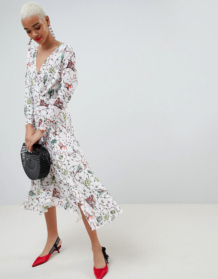 b6807c3524c2e ASOS. Women s Asos Cactus Print Wrap Midi Dress