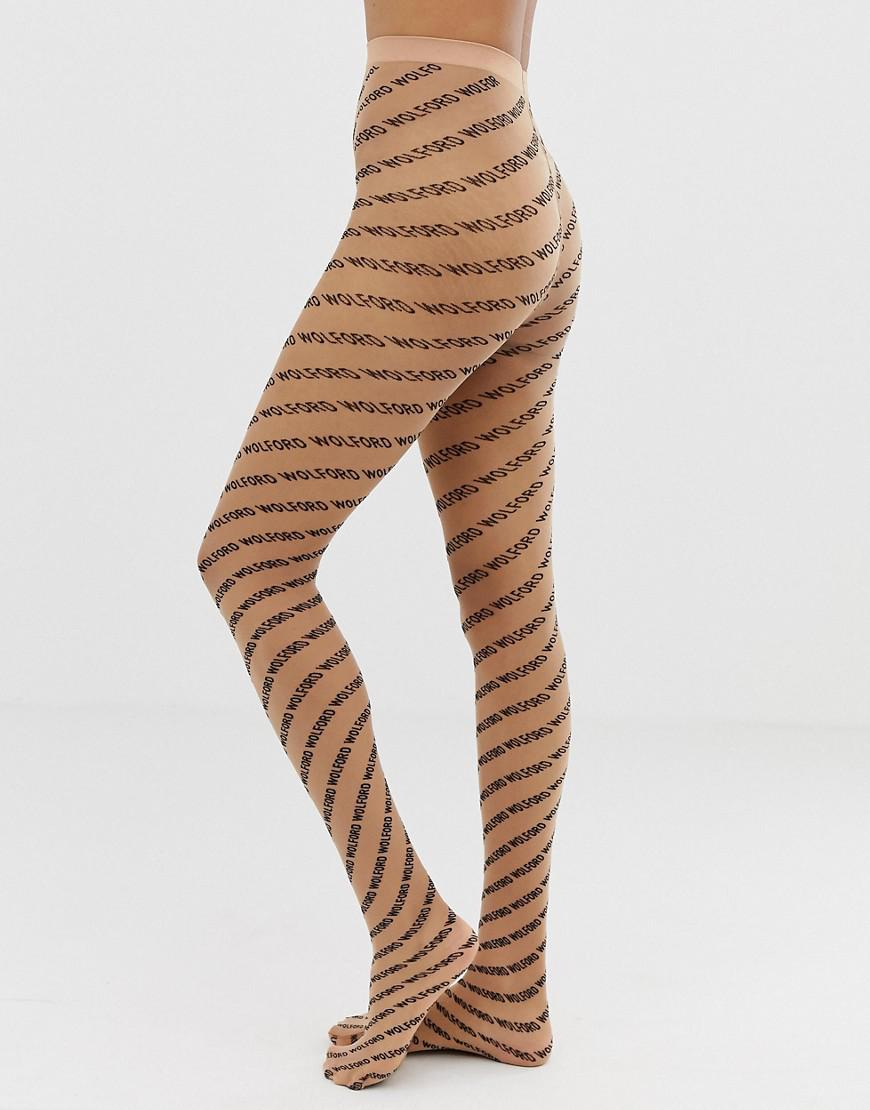 08ced797f Wolford All Over Logo Tights - Lyst