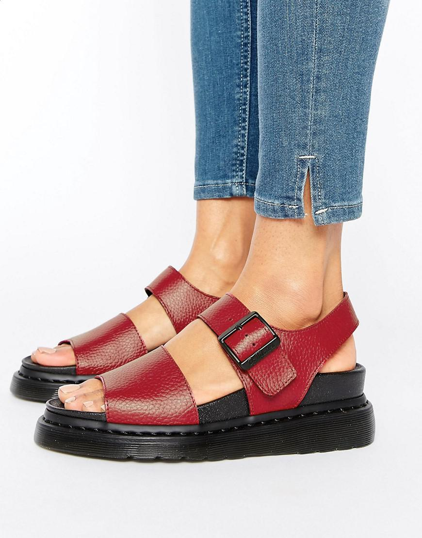 ea2747a462a2 Dr. Martens Romi Red Leather Strap Flat Sandals in Red - Lyst
