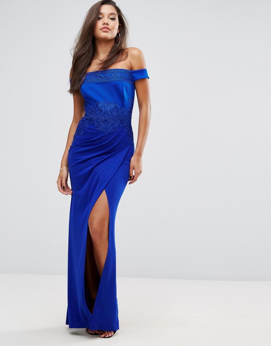 9036c46aa840 Lipsy Vip Off The Shoulder Black Lace Evening Maxi Dress