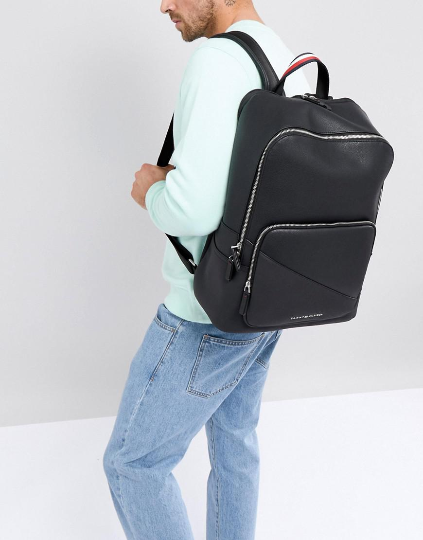 40db9e3fe Tommy Hilfiger Diagonal Faux Leather Backpack In Black in Black for ...