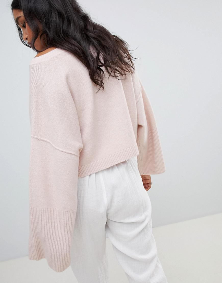 5c77236207 Lyst - Micha Lounge Oversized Cropped Sweater in Pink