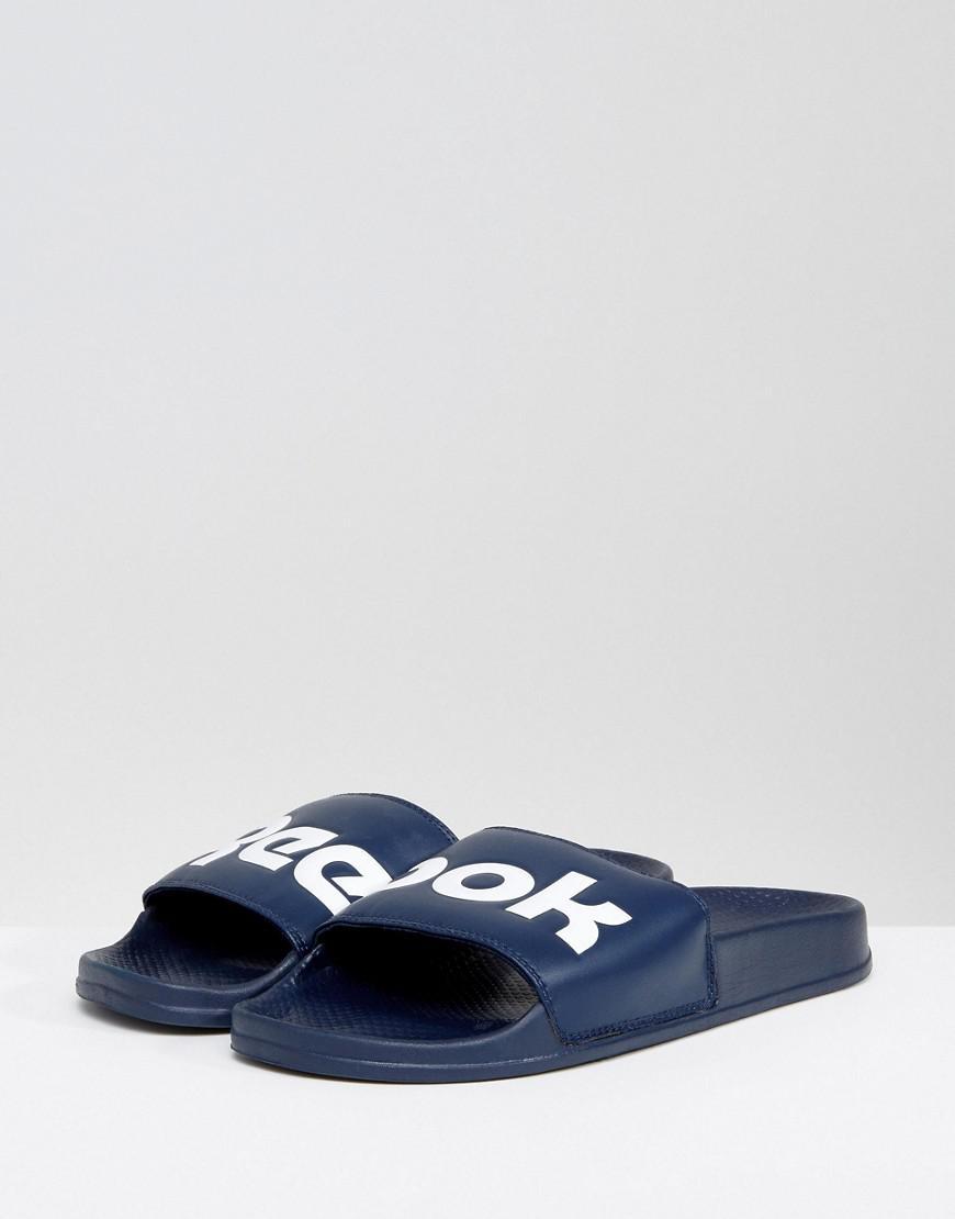 7bef4d17da48 Reebok Split Logo Sliders In Navy Bs8186 in Blue for Men - Lyst