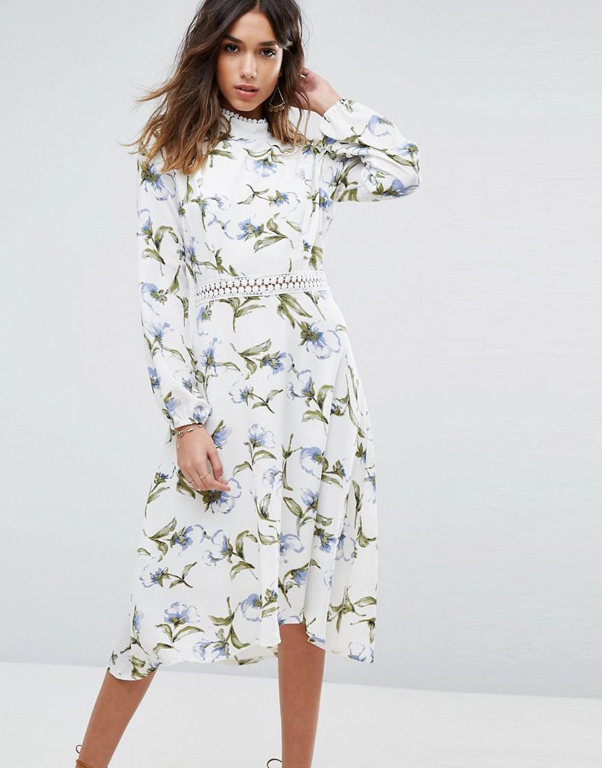 417a8ef85af6 Boohoo Lace Trim Open Back Midi Dress in White - Lyst