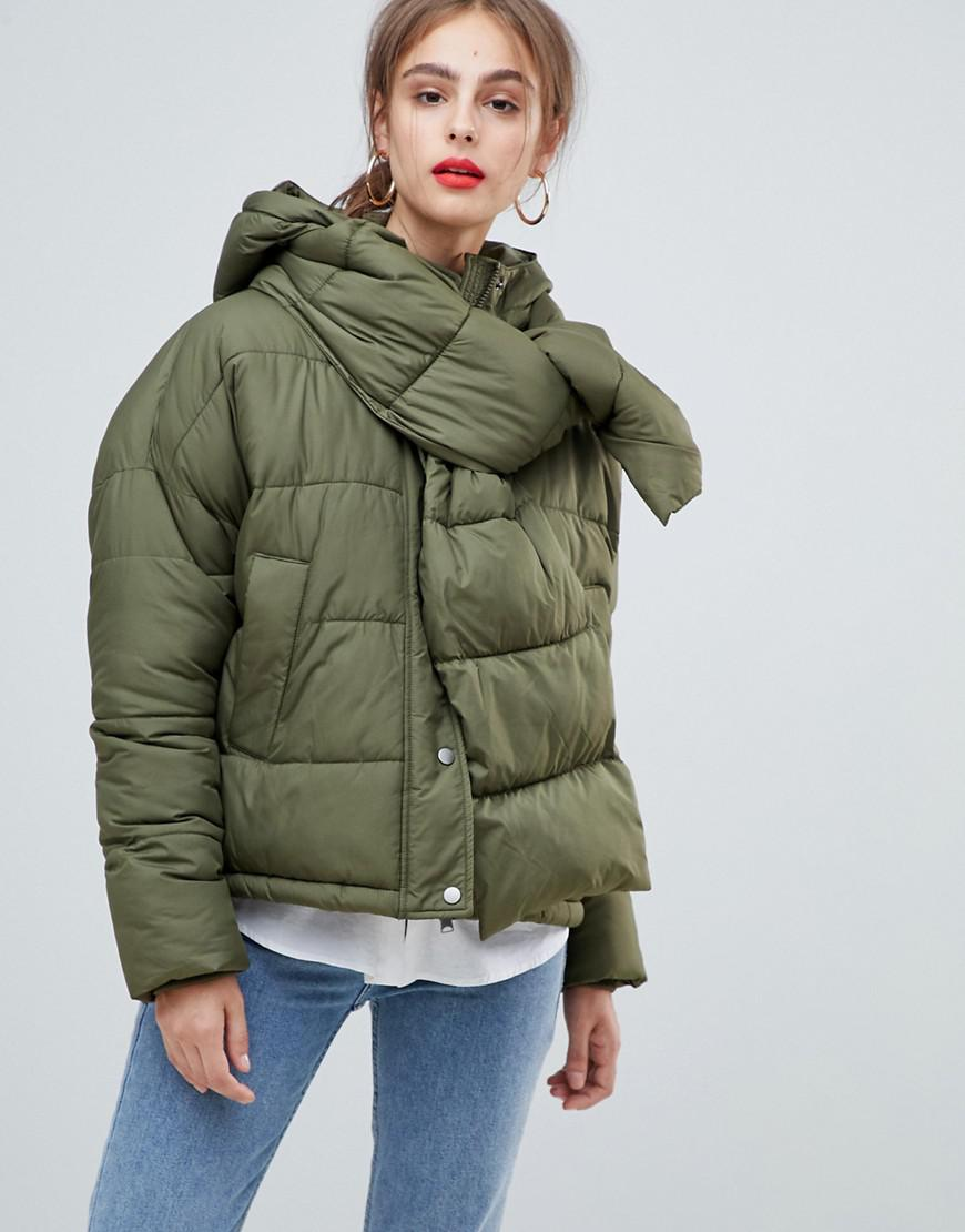 44f296e19d861 Lyst - Vero Moda Hooded Padded Jacket With Scarf in Green