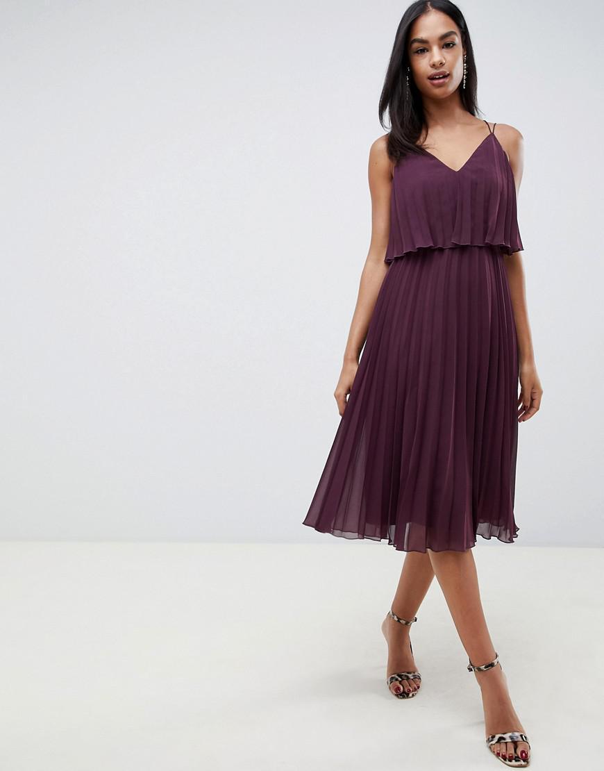 e250aa5ef429c Lyst - ASOS Pleated Crop Top Midi Dress in Purple