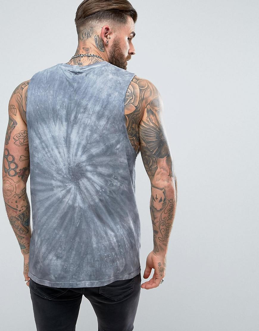 bd7b50940fd19 Lyst - Asos Asos Sleeveless T-shirt With Dropped Armhole With Spiral  Tie-dye in Gray for Men