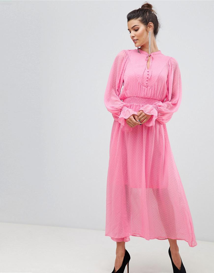 0c92b2681780 Y.A.S Tie Neck Chiffon Spot Maxi Dress in Pink - Lyst