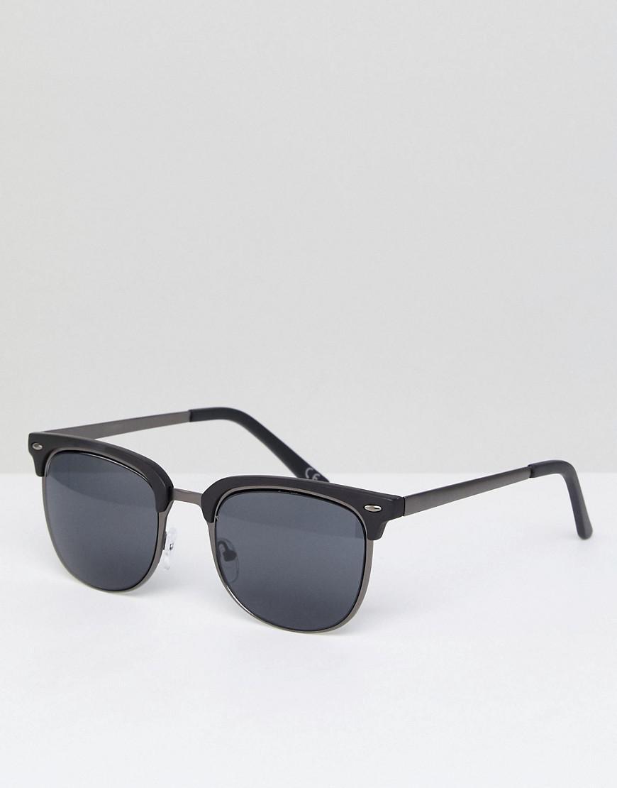8ea006ba96d Asos Retro Sunglasses In Gunmetal   Matte Black in Metallic for Men ...