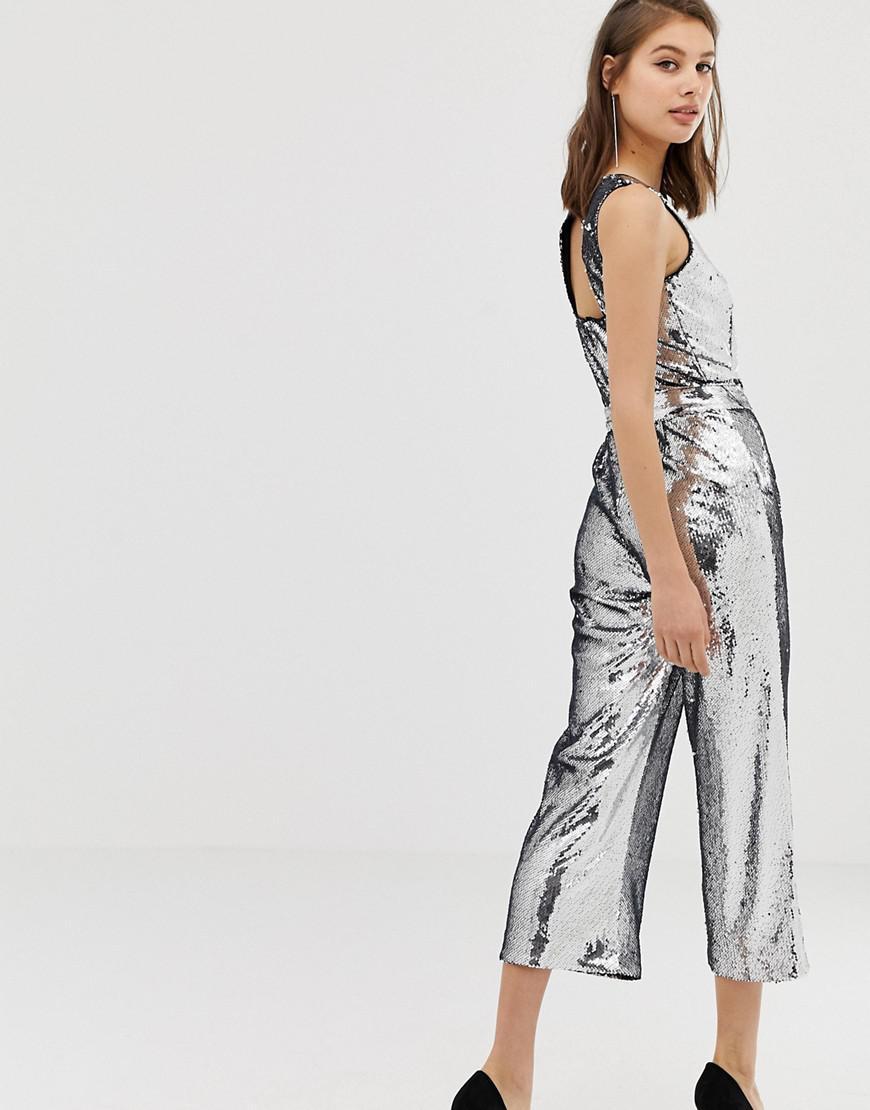 587d0bd585dc Warehouse Jumpsuit In Silver Sequin in Metallic - Lyst