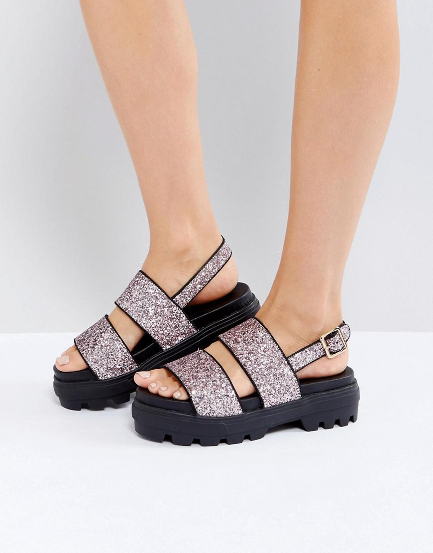 90469d86cb0 ASOS Flaunt Chunky Flat Sandals in Pink - Lyst