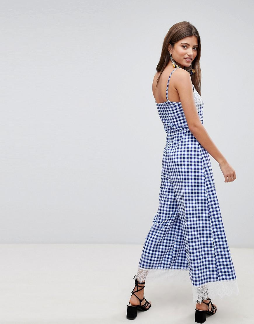 1991a0f79cc ASOS Lace Trim Button Front Cami Jumpsuit In Gingham in Blue - Lyst