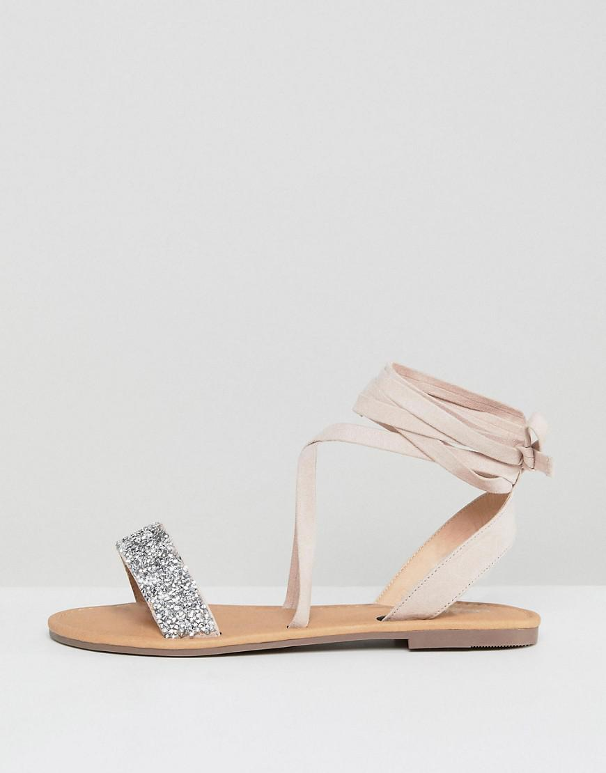 ade4e69ab Lyst - ASOS Wide Fit Fi Embellished Flat Sandals in Natural