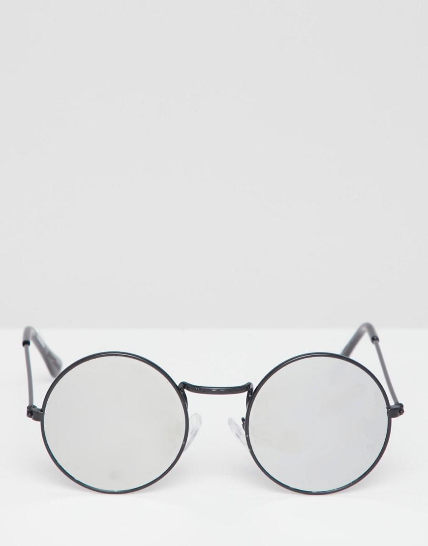 4513ddca96856e Lyst - Lunettes de soleil rondes avec verres effet miroir Reclaimed (vintage)  pour homme en coloris Noir