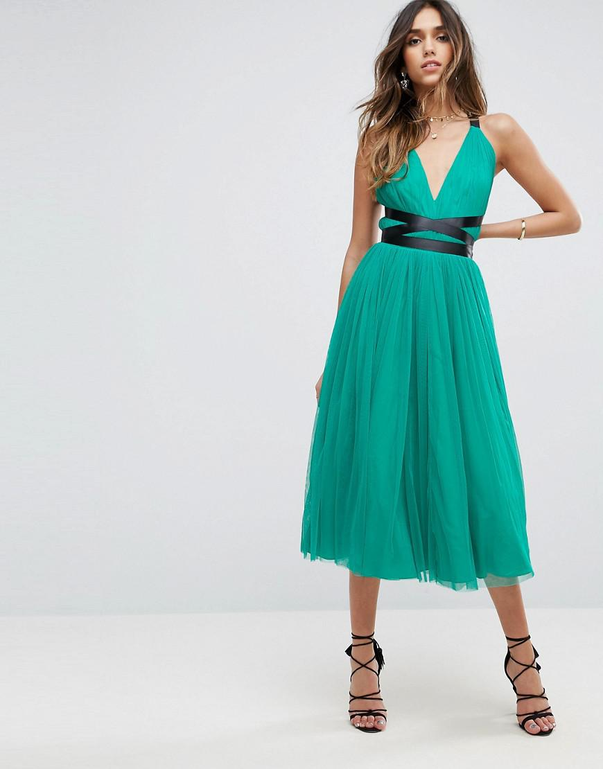 Lyst - Asos Premium Tulle Midi Prom Dress With Ribbon Ties in Green