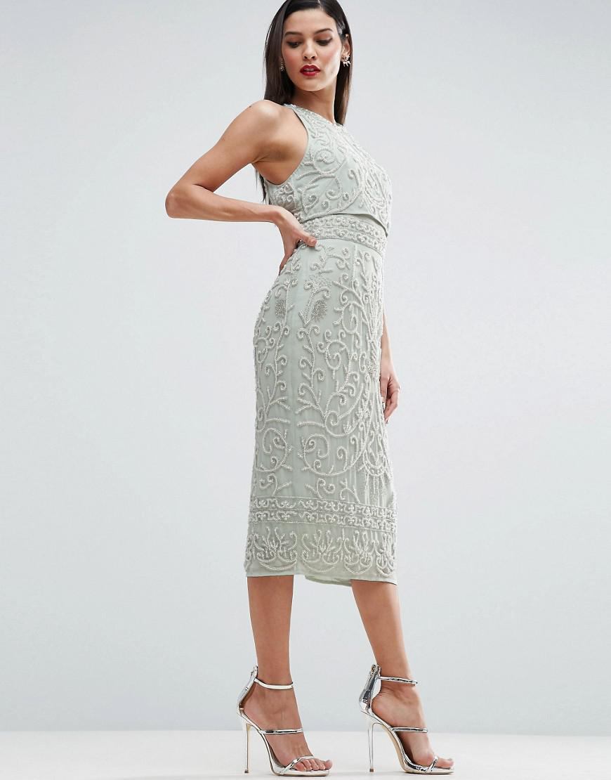 a3b7fd422 Lyst - ASOS Red Carpet Crop Top Embroidered Pearl Midi Dress in Green