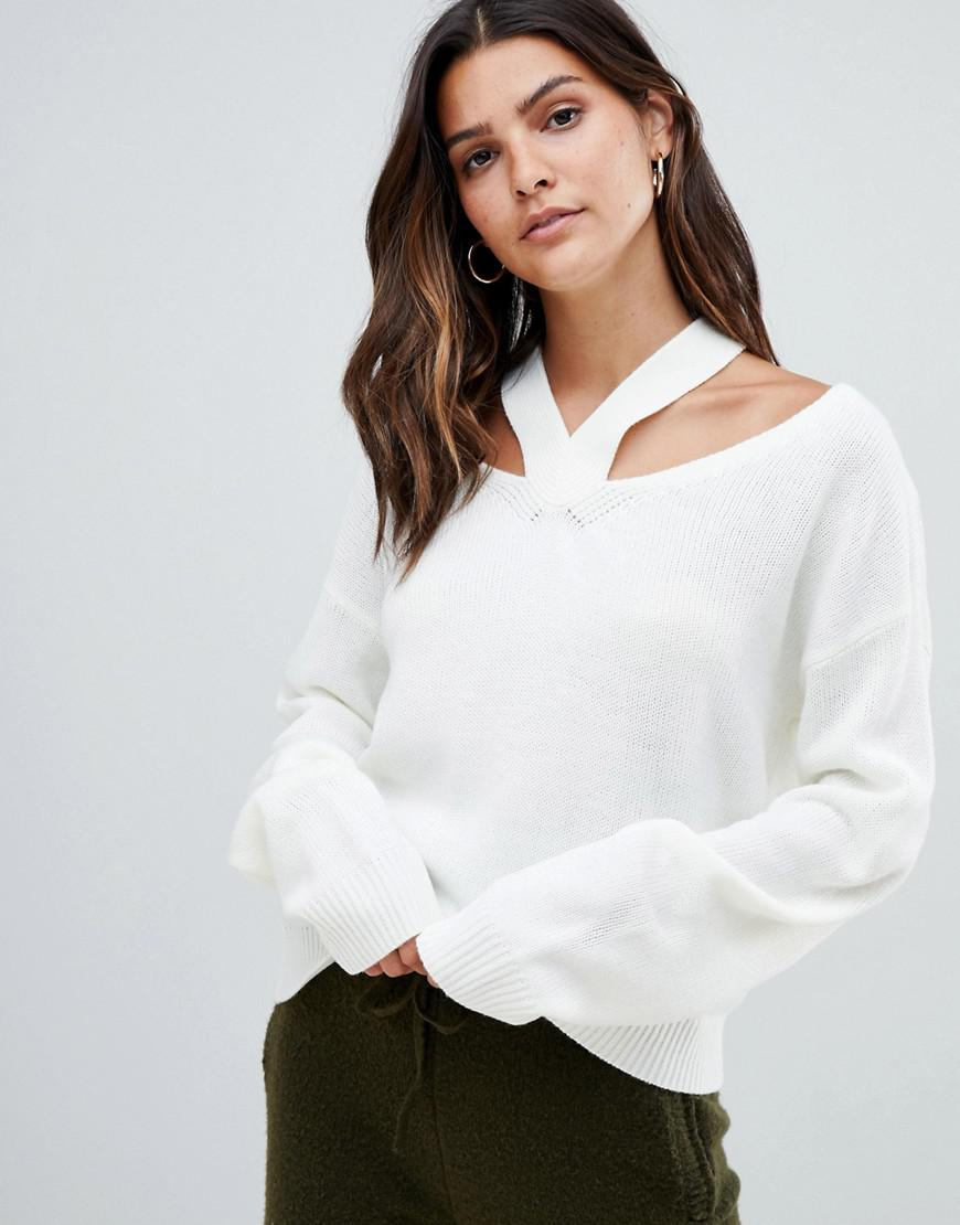 ae7c164fe9 Lyst - Micha Lounge Jumper With Cut Out Shoulder Detail in White
