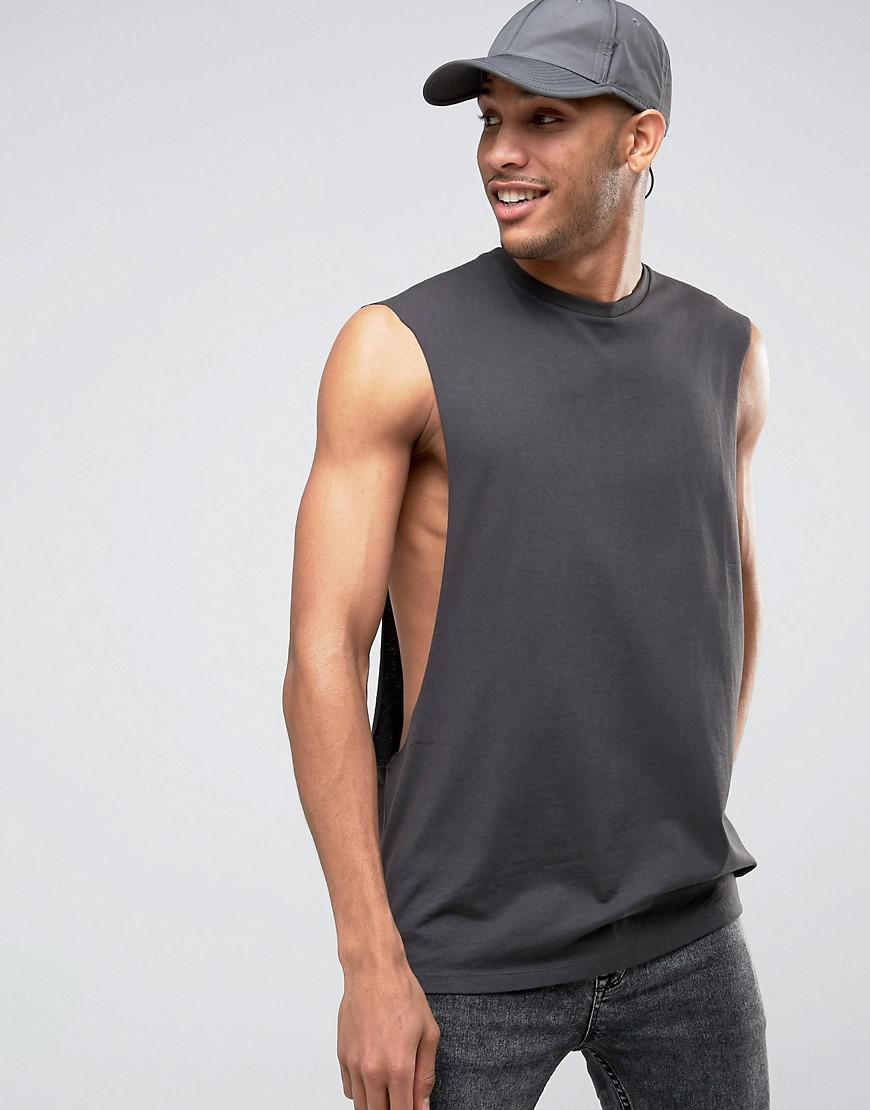 388dc48d394c7 Lyst - ASOS Oversized Sleeveless T-shirt With Extreme Dropped ...