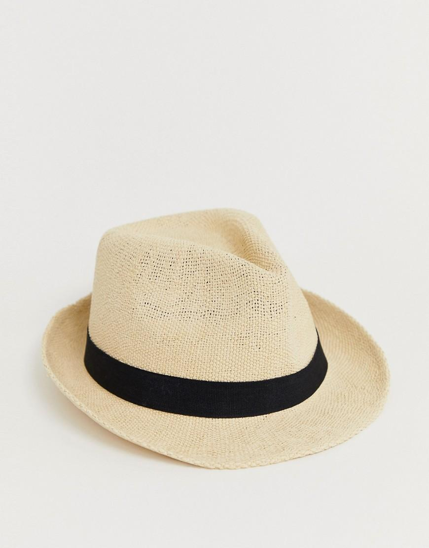 39d0a649 ASOS Straw Trilby Hat With Size Adjuster in Brown - Lyst