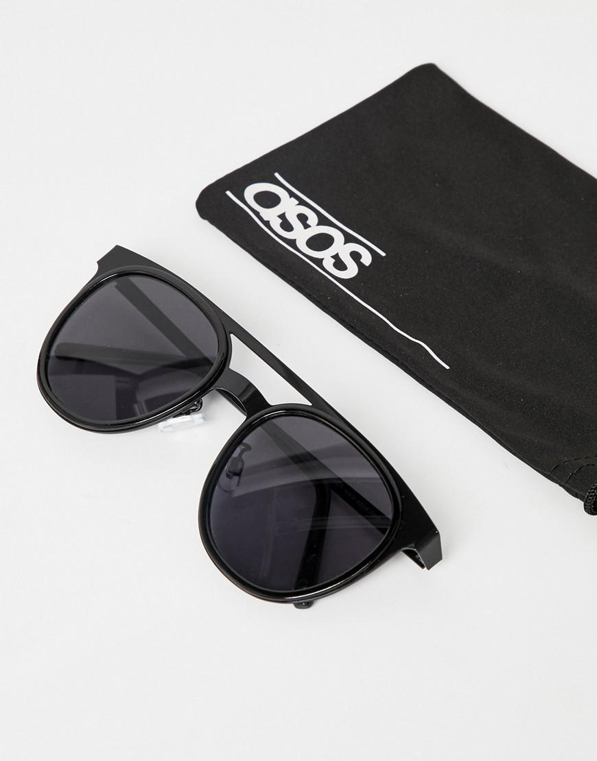a4ca0aa4a9c0 ASOS 2 Pack Round Sunglasses With Brow Bar In Gold & Black in Metallic for  Men - Lyst