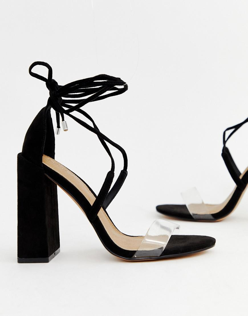 49fc3fa49119 Asos Hadley Barely There Block Heeled Sandals in Black - Lyst