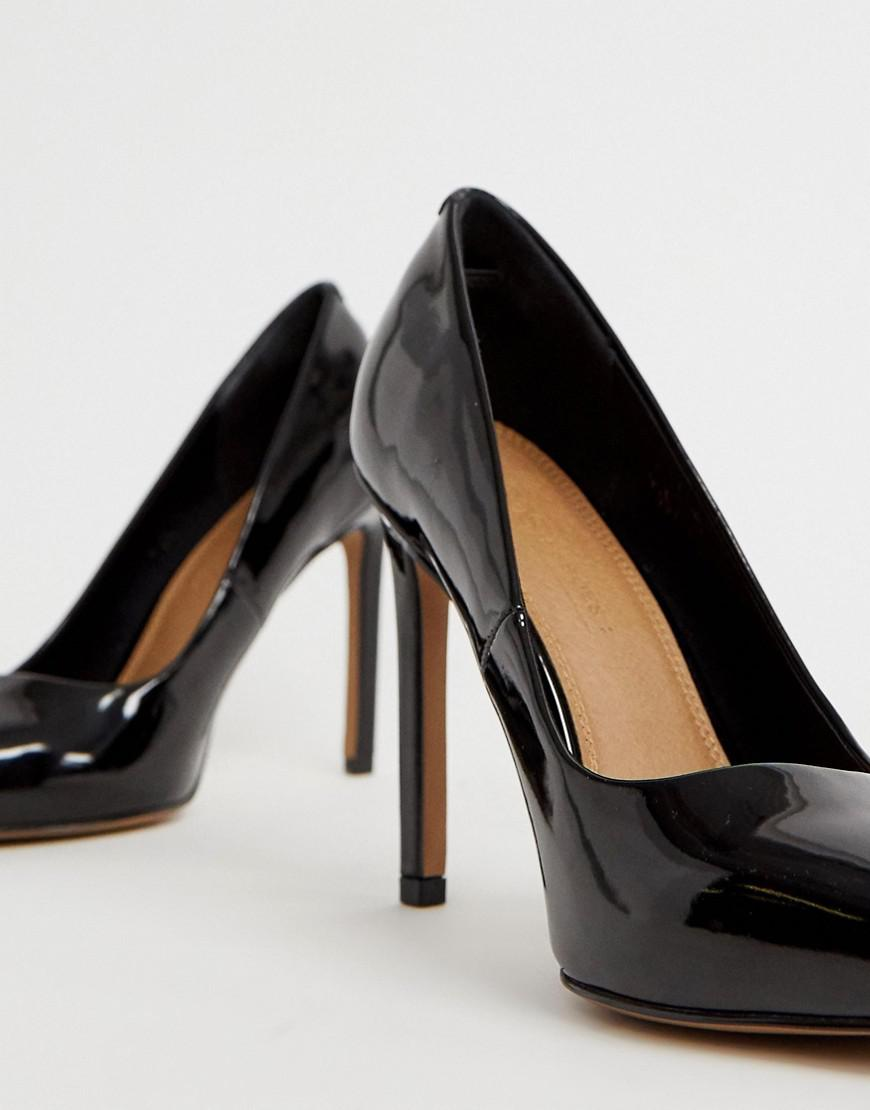 4c76e8b356b Lyst - ASOS Porto Pointed High Heeled Pumps In Black Patent in Black