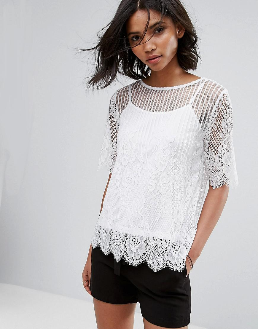 e77be8dc6c118e Lyst - Vila Lace Detail Shell Top in White