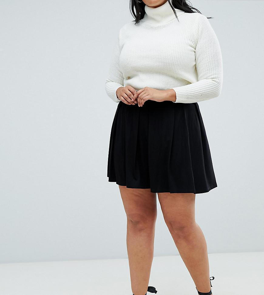 7bf082897 ASOS Asos Design Curve Mini Skirt With Box Pleats in Black - Lyst