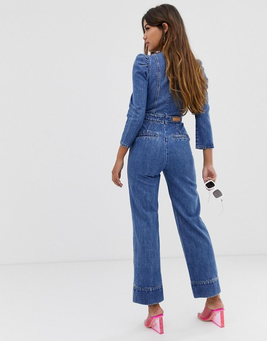 3ce5122332d3 Lyst - Miss Sixty Denim Jumpsuit With Puff Fleeve Detail in Blue