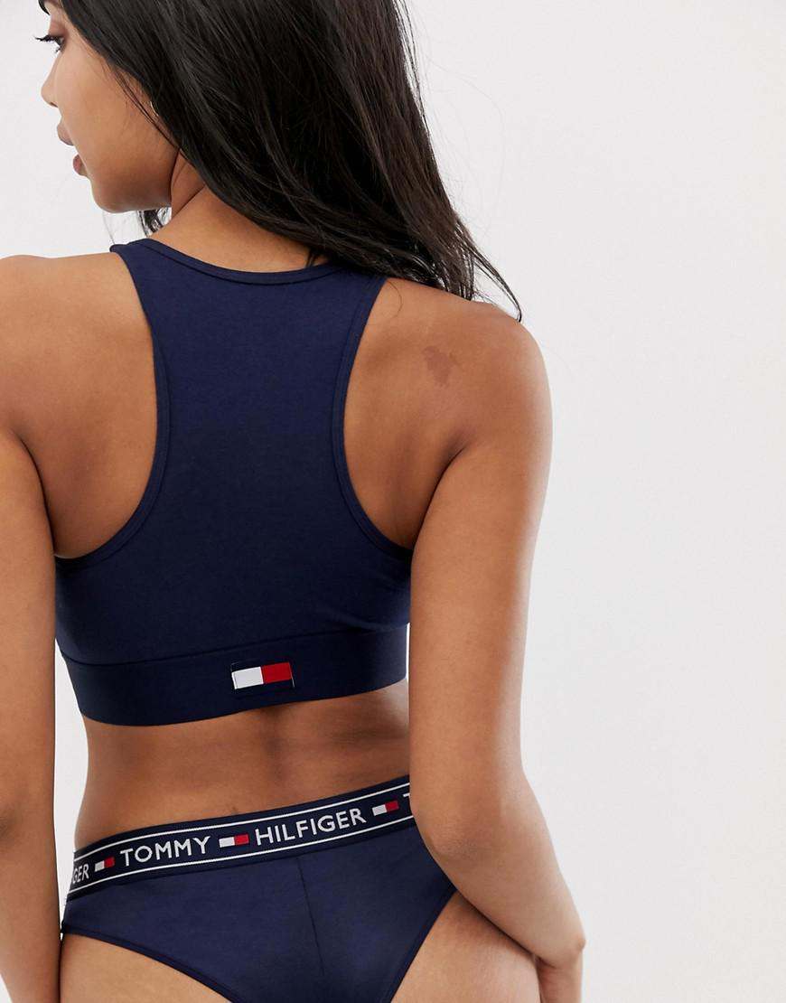 0df905ccde8e5 Tommy Hilfiger Flag Heritage Cotton Colour Block Bralette in Blue - Lyst