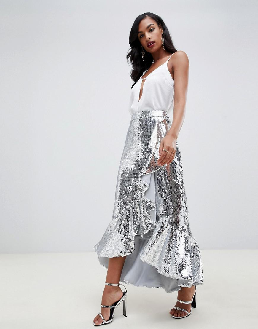 e351ac4b1a TFNC London. Women's Metallic Sequin High Low Skirt With Frills In Silver