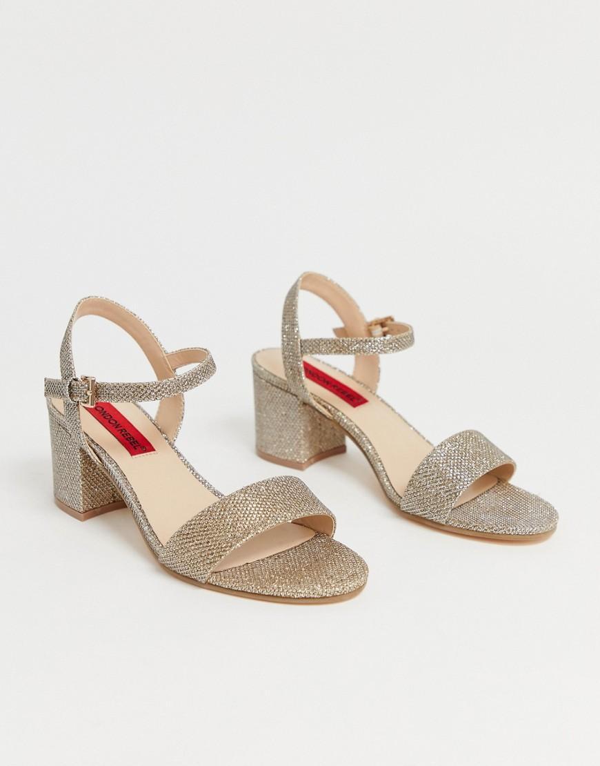 9b7b0646a27 London Rebel Kitten Heel Sandals in Metallic - Lyst