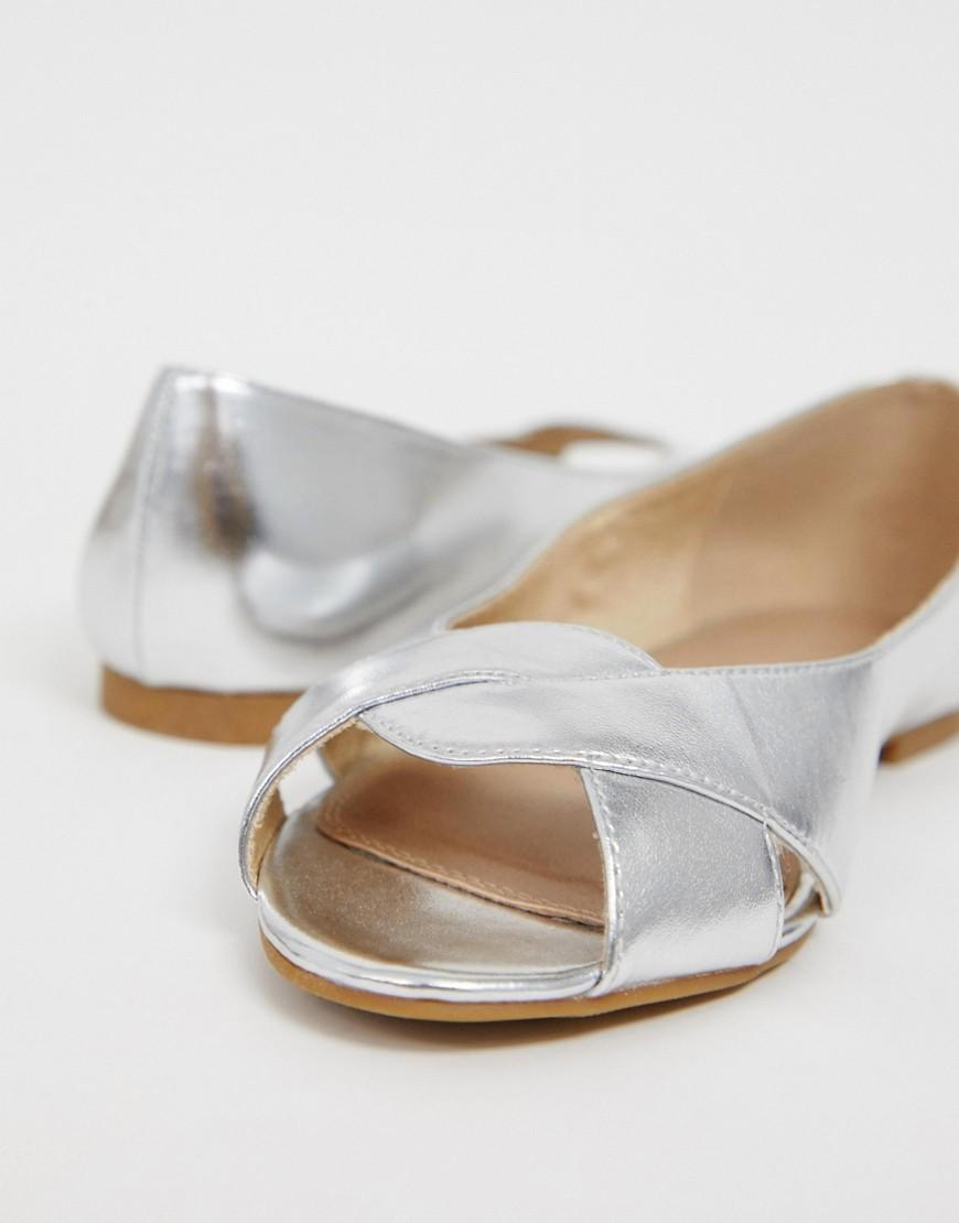 8181a2388 Lyst - ASOS Wide Fit Leadership Peeptoe Ballet Flats in Metallic