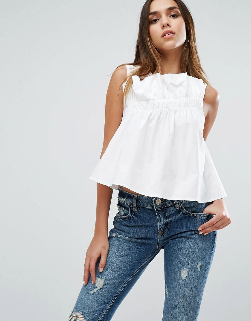 db1b5a0d934caa Lyst - Missguided Asymmetric Frill Top in White