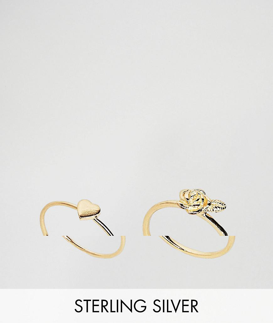 Asos Gold Plated Sterling Silver Pack of 2 Heart & Rose Ring Pack - Gold SkfQdkF51