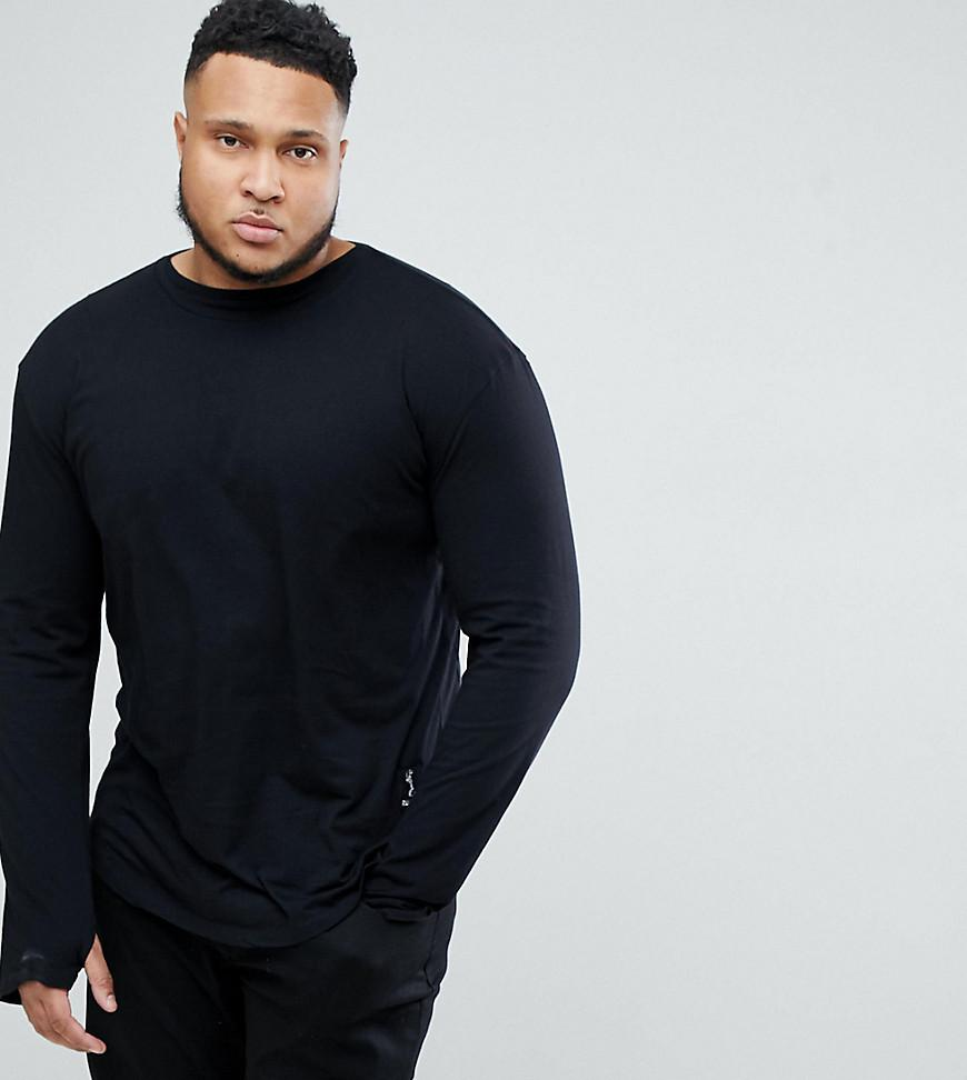 Popular And Cheap All Size Long Sleeve T-Shirt With Curved Hem and Double Neck - Black Religion aPXpnvyB4