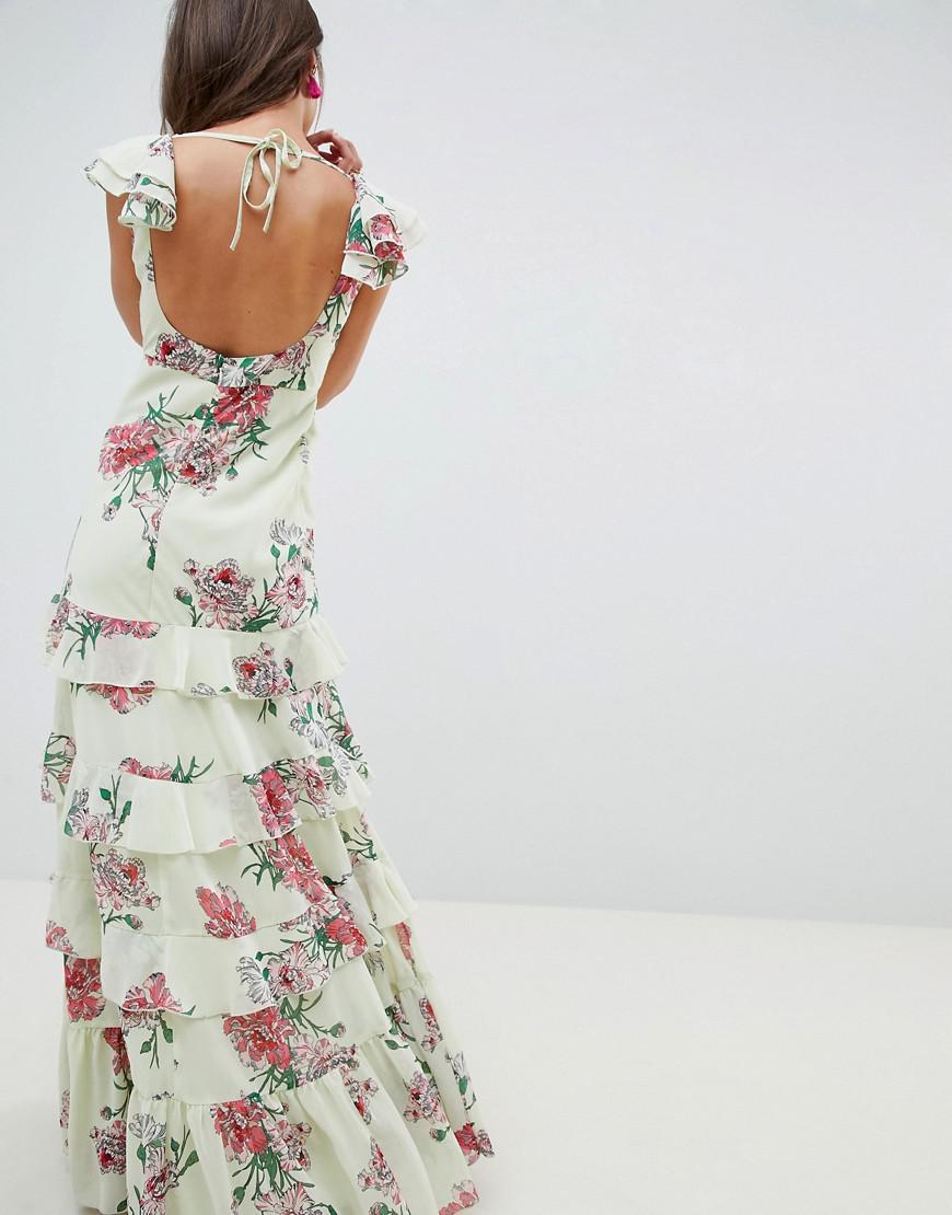 cbd7dba2f7041 ASOS Tiered Ruffle Maxi Dress In Floral Print - Lyst