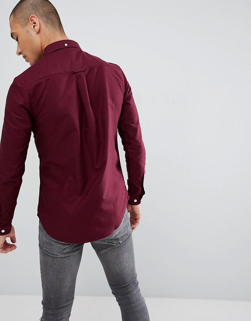cb03ec3a393 Lyst - Farah Skinny Fit Button Down Oxford Shirt In Burgundy in Red for Men  - Save 58%