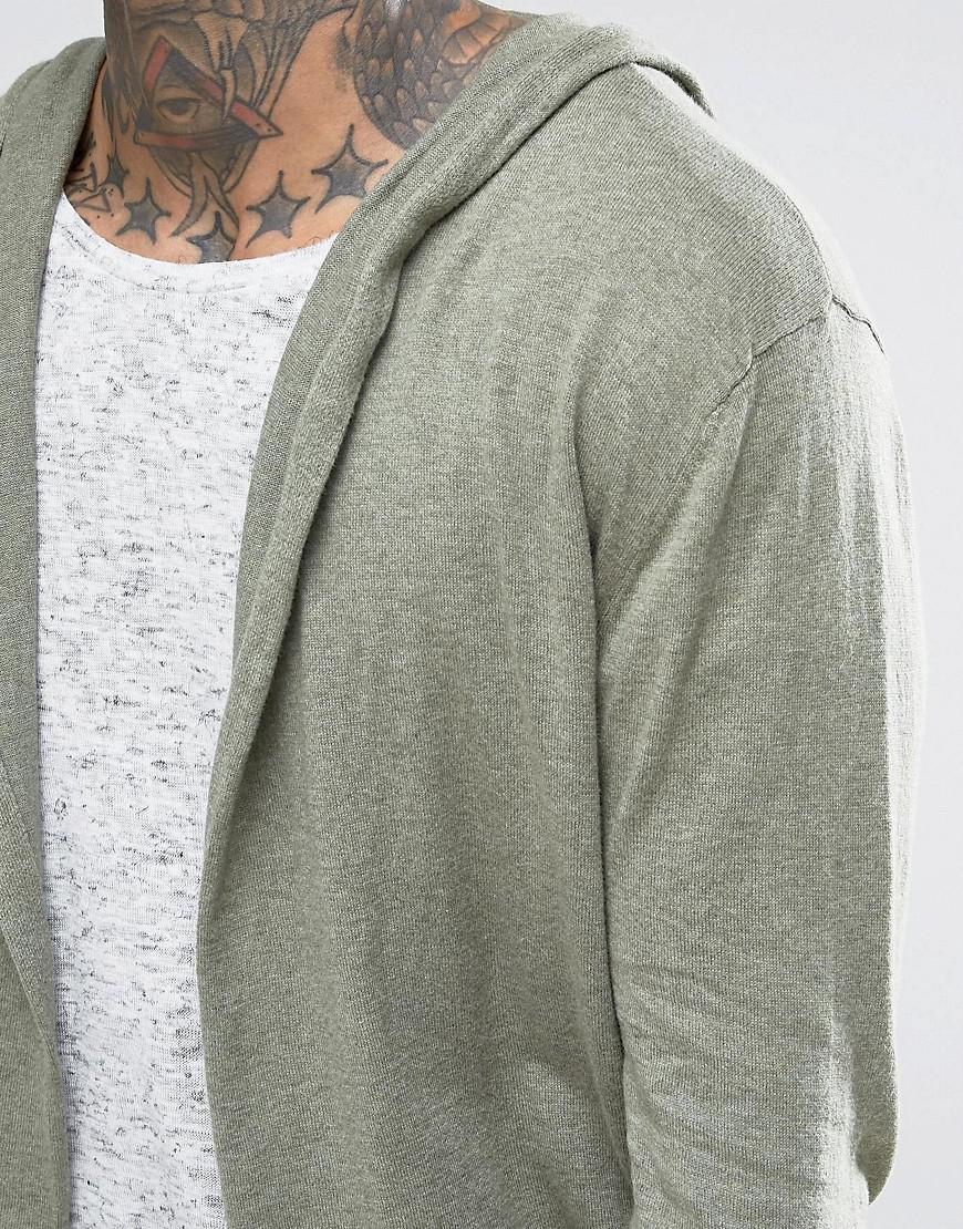 Asos Knitted Hooded Cardigan In Light Khaki in Green for Men | Lyst