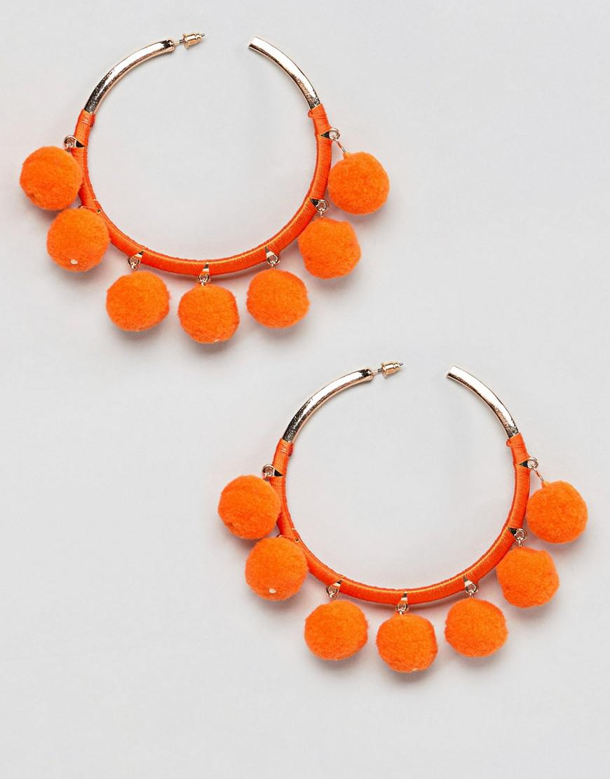Image result for River Island Wrapped Pom Hoop Earrings
